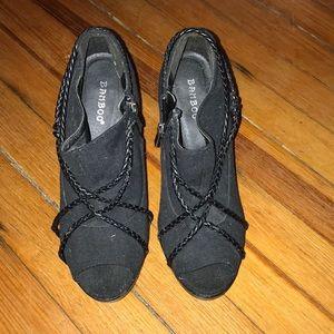 Black peep toe high heels